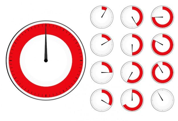 Reloj temporizador ajustado. temporizador de cuenta regresiva rojo