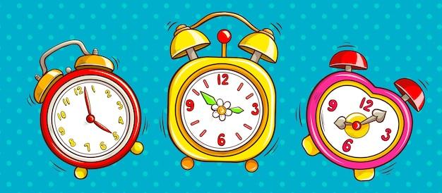Relojes de alarma de arte pop sobre fondo de medio tono.