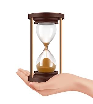 Relojes de arena en mano. mano realista del concepto de gestión del tiempo e ilustración histórica de relojes retro.
