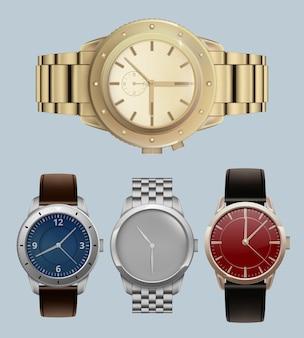 Relojes para hombres. pulseras caras de estilo de lujo con un conjunto realista de relojes de pulsera modernos.