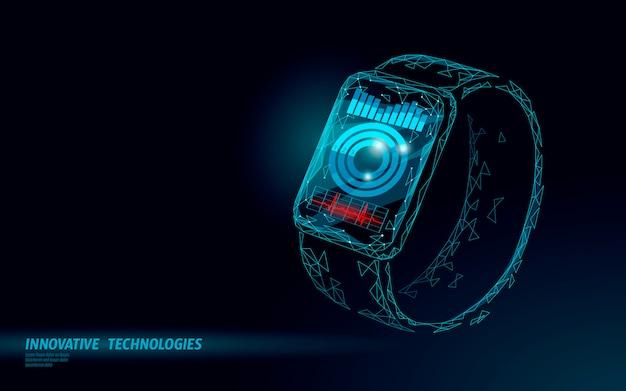Relojes inteligentes con pantalla táctil concepto de tecnología moderna. aplicación de seguimiento deportivo poligonal de baja poli. dispositivo de salud red de medios de comunicación gráfico.
