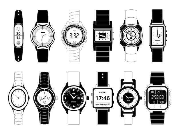 Relojes de mano deportivos mecánicos y electrónicos en estilo monocromo. conjunto de imágenes aislar en blanco. reloj de pulsera digital electrónico y mecánico, ilustración de moda y deporte.