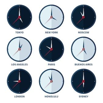 Relojes mundiales para zonas horarias de diferentes ciudades conjunto de vectores
