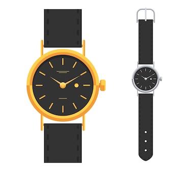 Relojes de oro y plata, conjunto de relojes de lujo de diseño clásico. reloj de mano.