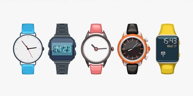 Relojes de pulsera en blanco