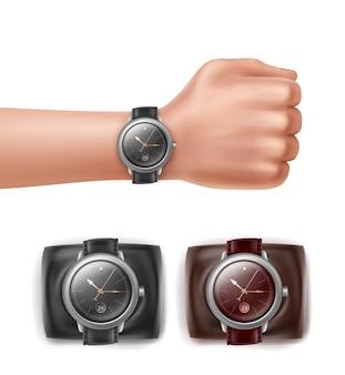 Relojes de pulsera de diferentes colores y mano con reloj.