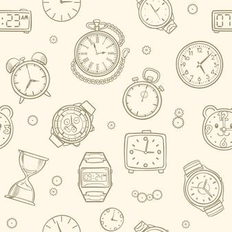 Relojes y relojes dibujados a mano vintage. patrón transparente de vector de tiempo. ilustración del dibujo del reloj, patrón de tiempo sin fisuras