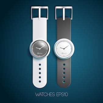 Relojes suizos clásicos con pulseras de cuero gris blanco y diales en estilo realista aislado