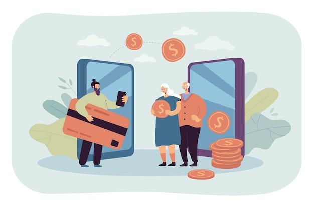 Remesa y transferencia de dinero entre familiares. ilustración plana.