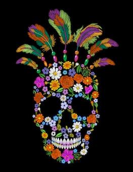 Remiendo de la moda del cráneo de la flor del bordado, ornamento mexicano indio nativo