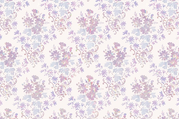 Remix de patrón de vector de flora holográfica vintage de ilustraciones de william morris