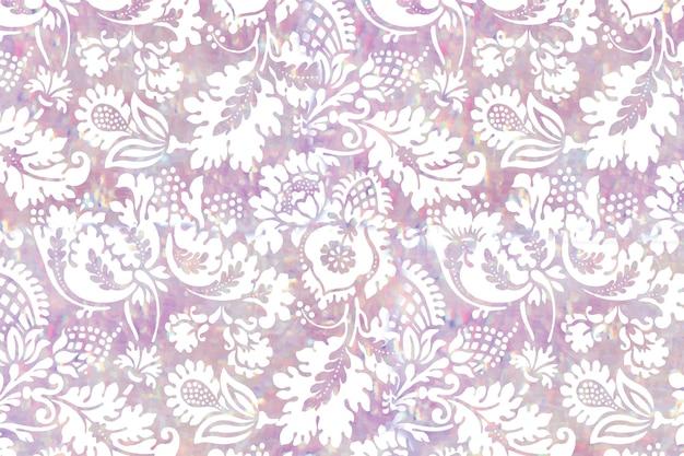 Remix de patrón de vector holográfico floral vintage de obra de arte de william morris