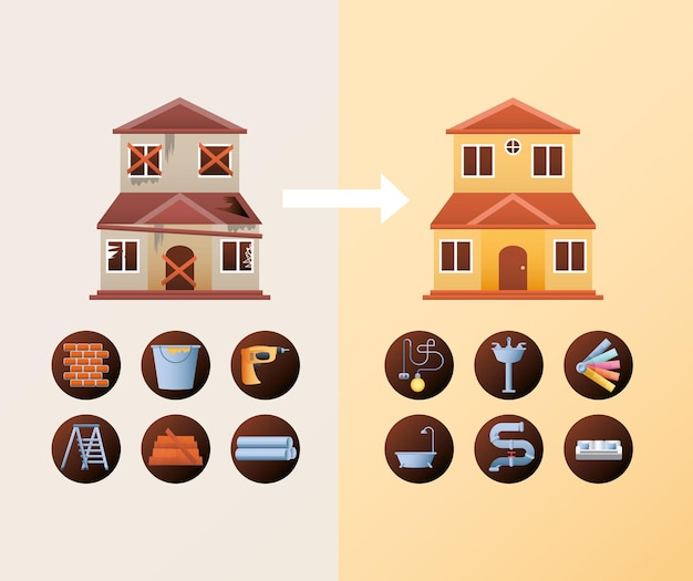 Remodelación de viviendas, antes y después de la construcción de herramientas rapir y renovación ilustración vectorial