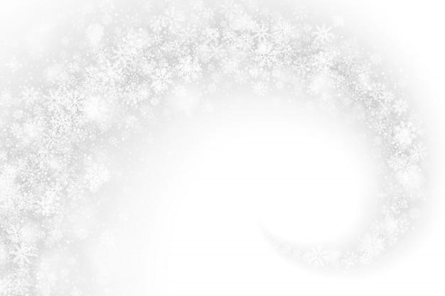 Remolino efecto nieve sobre fondo blanco abstracto