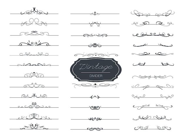 Remolino elegante divisor dibujado a mano vintage