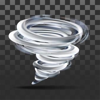 Remolino de tornado realista sobre fondo transparente. ilustración vectorial