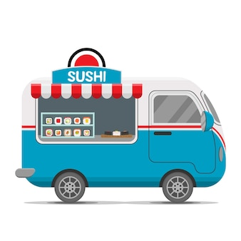 Remolque de caravana de comida callejera de sushi japonés. ilustración colorida, estilo de dibujos animados, aislado sobre fondo blanco.