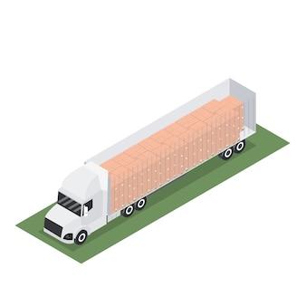 Remolque isométrico con contenedor para exportación con palet.