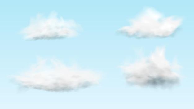 Render 3d de cuatro nubes blancas realistas sobre fondo de cielo azul claro