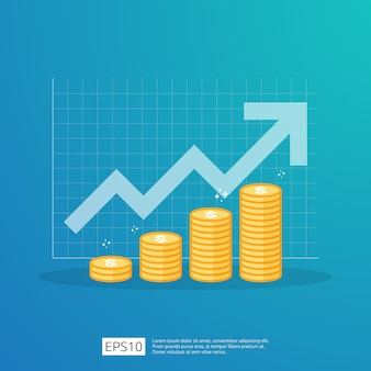 Rendimiento financiero del retorno de la inversión concepto de roi con flecha.
