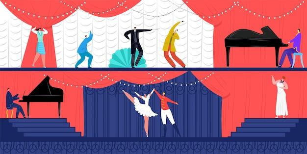 Rendimiento plano de teatro en el espectáculo, ilustración.