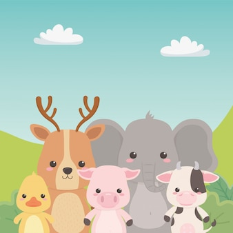 Reno elefante pato cerdo y vaca