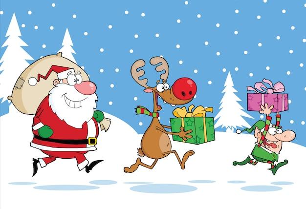 Reno, elfo y santa claus llevando regalos de navidad en el fondo de navidad