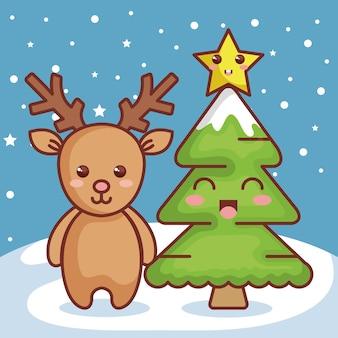 Reno con icono de personaje de navidad de pino