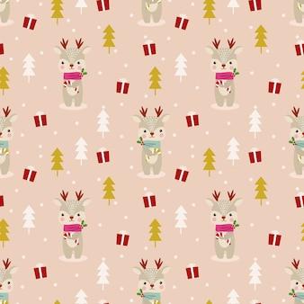 Reno lindo en patrones sin fisuras tema de navidad