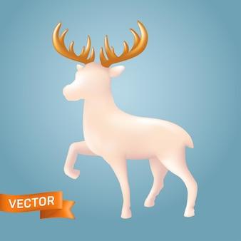 Reno de navidad blanco en un estilo cerámico realista. juguete decorativo de porcelana de un reno con cuernos dorados