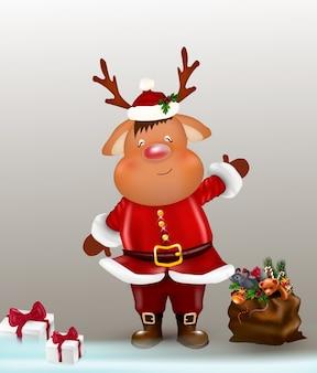 Reno de navidad. ciervo de carácter lindo y divertido. tarjeta de navidad.