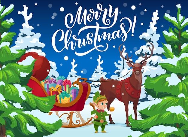 Reno de navidad y elfo con regalos, vacaciones de invierno de navidad