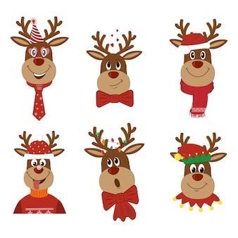 Reno de navidad en trajes festivos.