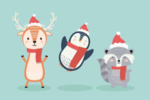 Reno y pingüino con mapache con personajes de ropa navideña