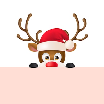 Renos en santa hat peeping out