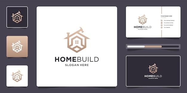 Renovación de la casa diseño de logotipo de bienes raíces y tarjeta de visita.