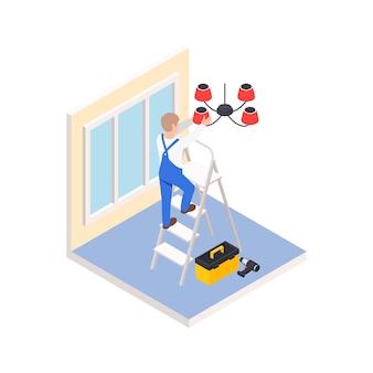Renovación, reparación, obras, composición isométrica, con, carácter, de, trabajador, en, escalera, configuración, nuevo, candelabro