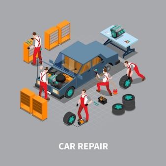 Reparación de automóviles auto center composición isométrica