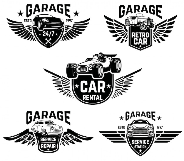 Reparación de automóviles, garaje, emblemas de servicio automático. elementos para logotipo, etiqueta, letrero. imagen