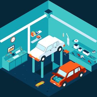 Reparación de coches de garaje 3d isométrica. taller y auto, ascensor mecánico. ilustración vectorial