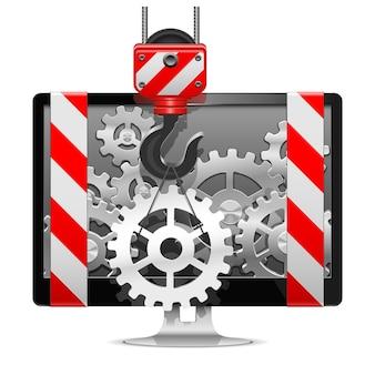 Reparación de computadoras con grúa