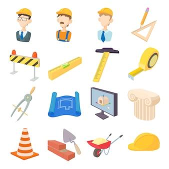 Reparación y construcción de iconos de herramientas de trabajo establecidos en estilo de dibujos animados