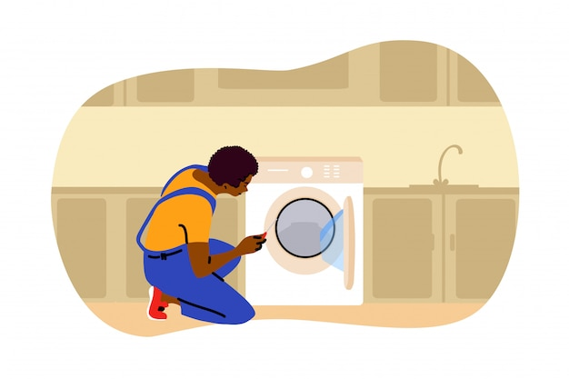Reparación, lavandería, trabajo, concepto de reemplazo.