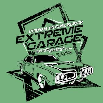 Reparación de motor personalizado de garaje extremo, ilustración de un automóvil rápido clásico