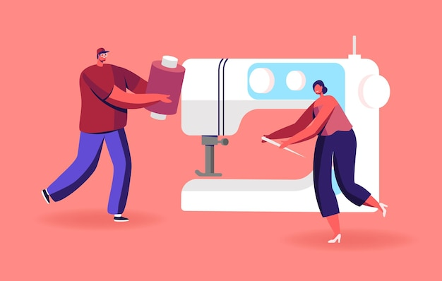 Reparación o creación de prendas de tiny sewers en una enorme máquina de coser.