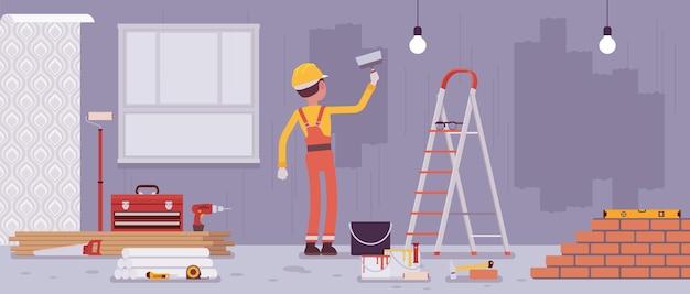 Reparación de pisos y paredes pintadas por trabajadores.