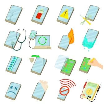 Reparacion de telefonos fijos iconos conjunto