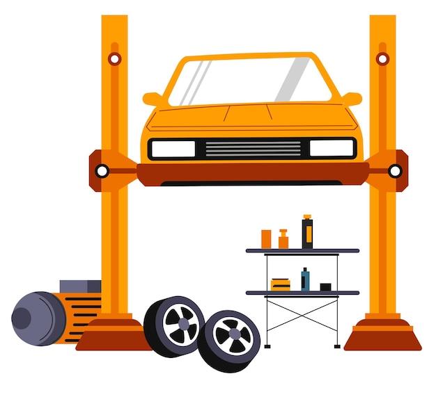 Reparación de vehículos en taller mecánico o tienda. coche aislado puesto en elevación alta. mantenimiento y solución de problemas, transporte y pericia profesional de temas automovilísticos. vector en estilo plano