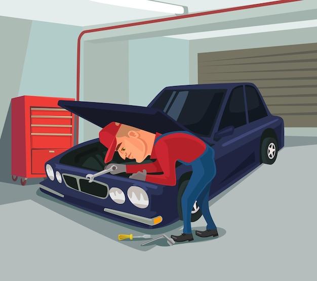 Reparaciones de automóviles carácter de trabajador haciendo reparación ilustración de dibujos animados plana