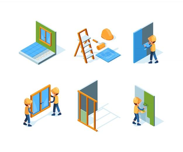 Reparaciones en el hogar. equipo de instalación de pared trabajadores de pintura construcciones de edificios renovación casa isométrica
